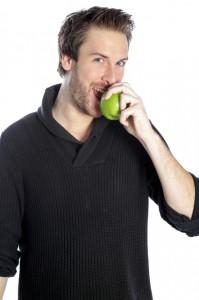 a man and an apple