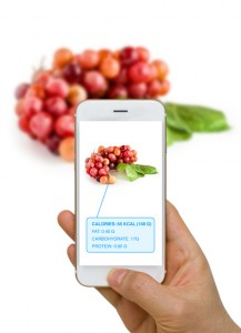Augmented Reality or AR App Showing Nutrition Information of Foo